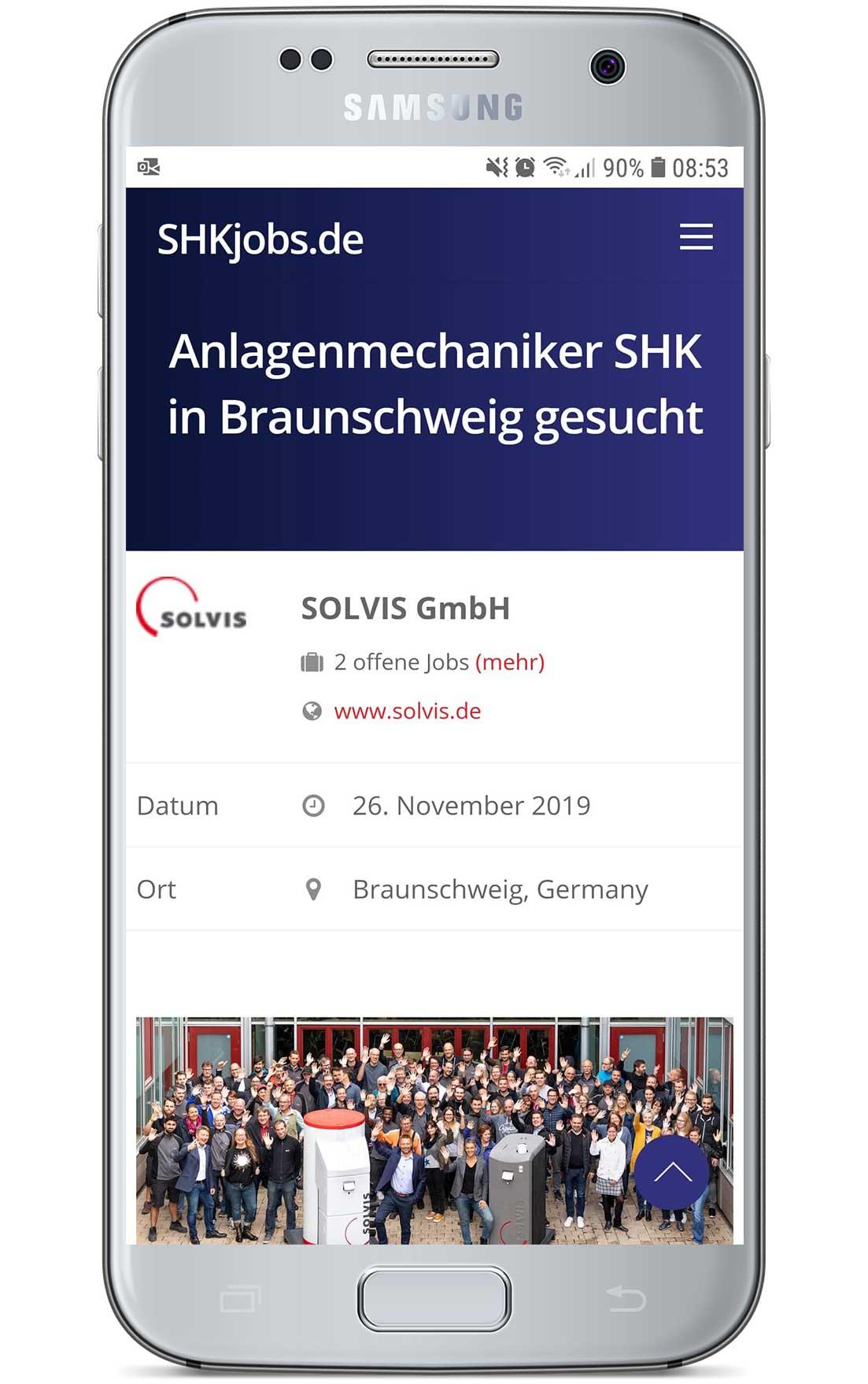 Job-Eintrag auf SHKjobs.de